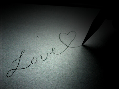 Pencil, paper, black-and-white love note