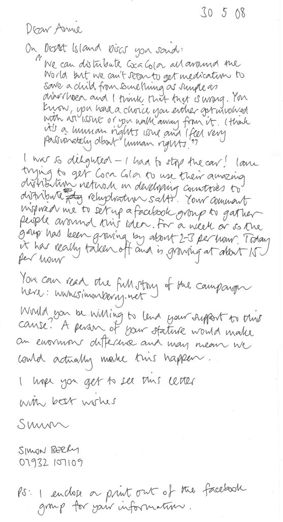 Letter to Annie Lennox - 30/5/08