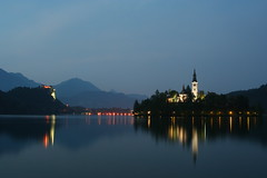 Lake Bled - at night (bevanthomson) Tags: sunset lake reflection church night slovenia lakebled wdg bledisland