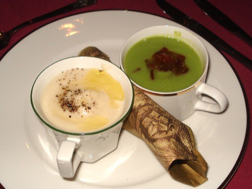 Two soups: cauliflower, scallops & truffle; Pea, mint, bacon & tomato confit