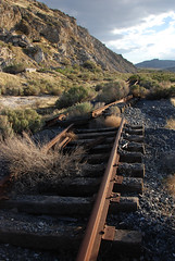 Out of service... 20080506_6568 (listorama) Tags: railroad abandoned ties geotagged utah flora track desert decay lakeside rails quarry decayed outofservice crossties ut2008may