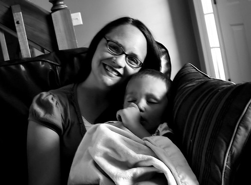 James asleep in mommys arms