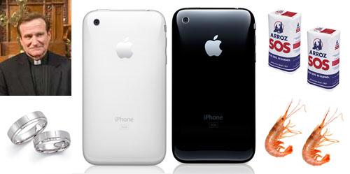 Collage artístico con, un cura, dos alianzas, dos paquetes de arroz SOS, dos langostinos, un iPhone blanco y un iPhone negro