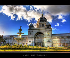 The Royal Exhibition Building, Melbourne - HDR (Artie | Photography :: I'm a lazy boy :)) Tags: sky cloud building classic fountain grass stone architecture photoshop canon cs2 tripod australia melbourne wideangle victoria exhibition structure dome 1020mm hdr nineteenthcentury artie carltongardens royalexhibitionbuilding 3xp firstquality sigmalens photomatix tonemapping tonemap 400d rebelxti
