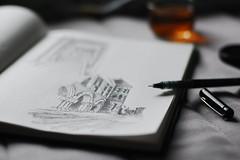 Hobby Resumed (Inside_man) Tags: stilllife pen sketch colorful bokeh passion lenscap lightandshadow blacktea sooc rainoutside hobbyresumed feltlikedrawingtoday