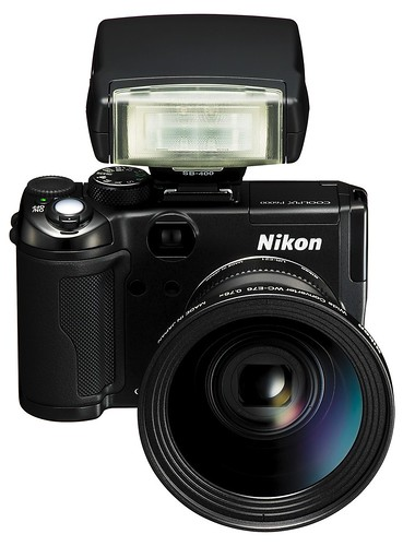 Nikon P6000 with SB-400 flash, UR-E21 and WC-E76 attached