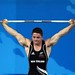 Mark Spooner competes in the 69kg class weightlifting at the 2008 Beijing Olympic Games