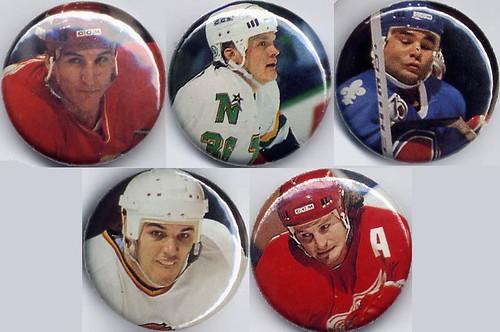 NHL, goons, link gaetz, tim hunter, gino odjick, bob probert, john kordic, buttons, pins