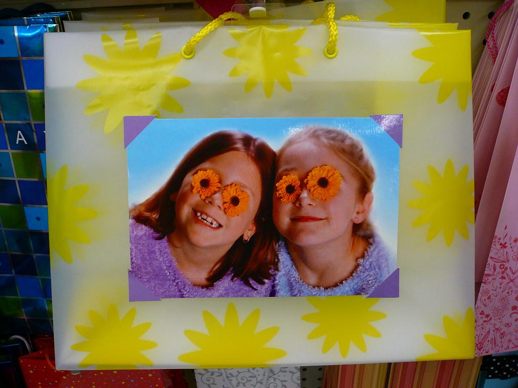 Weird eyed children on bag