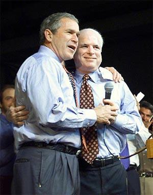 Image of John McCain and George Bush hugging