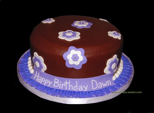 purple white and brown birthday cake