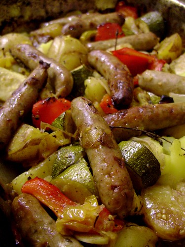 Pork and Herb Chipolatas & Roasted Vegetables