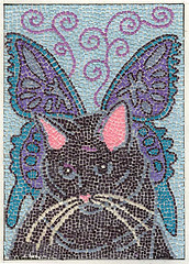 BLACK BUTTERFLY KITTY( paper mosaic ) (ACEOCATARTIST) Tags: blue cat butterfly blackcat kitty aceo imaginary theodora assemblege papermosaic butterflycat kittenmosaicmicromosaic