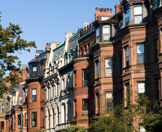 Brownstones along Commonwealth Avenue