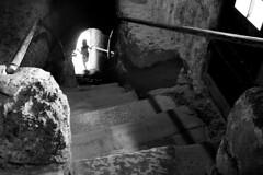 salzburg monastery iii (andrew c ko) Tags: door blackandwhite bw salzburg dark austria stair child monastery handrail