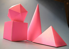 Primitive Light (Ben Morrow) Tags: pink blue school light shadow stilllife poster 3d pyramid cone space stage assignment shapes objects class september cube gradient lit homework 2008 hollow basic icosahedron primitive primitives posterboard sp560uz