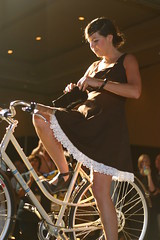 Short skirt and bicycle