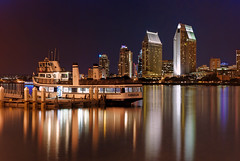 Coronado Ferry (mojo2u) Tags: california night harbor sandiego coronado hdr sandiegoskyline coronadoferry photomatrix nikon1855mm nikond80