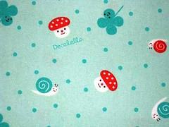 Snails, Mushroom and Clovers (This and That From Japan) Tags: cute mushroom smiling japan happy japanese snail fabric cotton kawaii dots clovers decole decolello