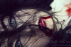 Deadly Kiss (Sombre Dreams Photography) Tags: hair blood eyes gothic goth makeup jeanette ardley dagwanoenyent gothicculture