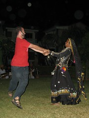 Todd spins with the Indian dancer, Vatika Resort, Sawai Madhopur, India