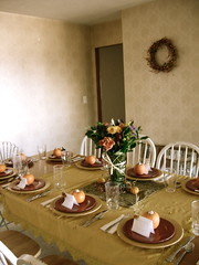 The Table (decor.amor) Tags: thanksgiving flowers party holiday dinner table decor settings muted driedflowers placecards tablesettings vintagewallpaper