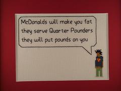 Rock N Roll McDonalds (benjibot) Tags: music chicago lyrics crossstitch crafts mcdonalds wesleywillis