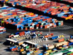 Toytown (Barcelona Docks - Simulated tilt shift) (jonxyz) Tags: barcelona colour port docks miniature bcn tutorial containers tiltshift toytown