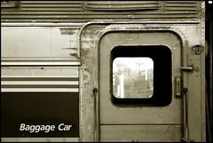 Southwest Chief Baggage (greenthumb_38) Tags: railroad blackandwhite bw detail sepia train blackwhite amtrak processing duotone baggage patina dutchdoor baggagecar jeffreybass