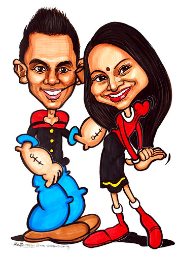 Popeye and Olive caricatures