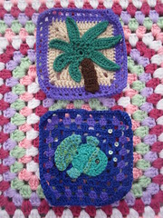 Squares for our 'Tropical Challenge' are just wonderful! Sequins for the Bubbles, how cool!