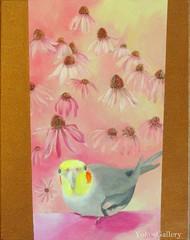 In the Pink (YokosGallery) Tags: pink flowers portrait pets art love birds bronze painting acrylic originalpainting parrot canvas cockatiel etsy yokosgallery