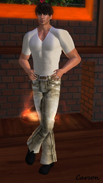 Wilson's Designs - Ivory V- Neck Tee and Tan Jeans