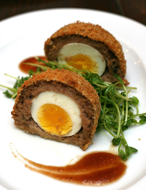Scotch Duck Egg, Pea Salad