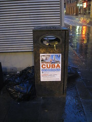 Cuba on a bin, Wood Street, Liverpool (new folder) Tags: reflection liverpool dawn nightshot cuba bin rubbish flyposter socialism hooka woodst