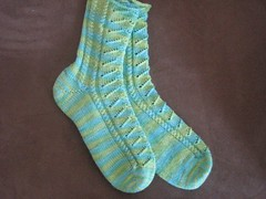 Green Appletini Toe-Up Socks