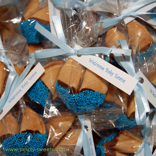 Baby Evans chocolate dipped fortune cookie baby shower favors