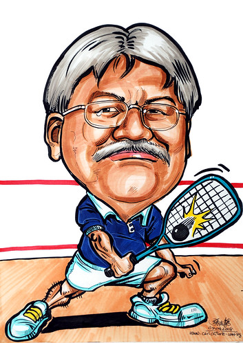 Caricature squash player