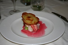French Laundry Butter Poached Lobster with Beet Essence and Pommes Maxim