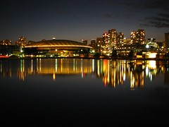 False Creek (jelee_unleashed) Tags: reflection evening nightshot falsecreek bcplacestadium concordeplace