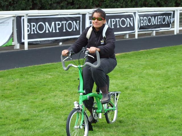 Monica on a Brompton