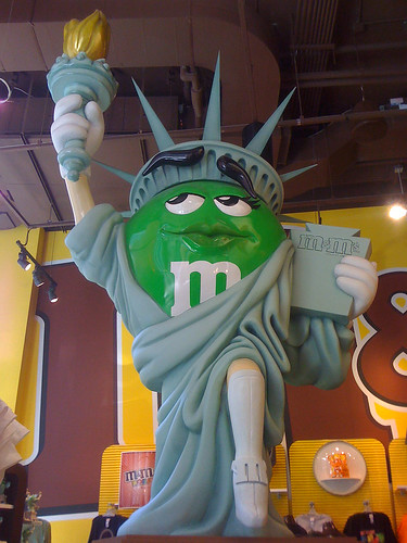 Green statue in M&M World in New York - Taken With An iPhone