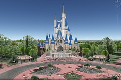 Magic Kingdom on Google Earth with 3D Buildings on.