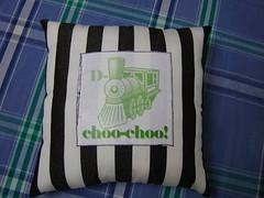birthday present for david... (a simple bag) Tags: birthday white black green train photoshop sewing stripe pillow fabric cotton present transfer choochoo oldfashioned asimplebag