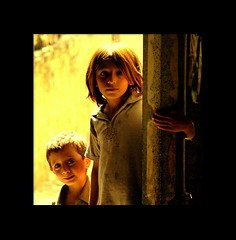 Brother and sister (Mobeen_Ansari) Tags: pakistan boy girl yellow rural children nikon d70 nikond70 sister brother siblings frame punjab dslr 70300mm islamabad rawalpindi vllage saidpur alemdagqualityonlyclub sixpixx