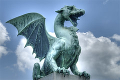Dragon (wili_hybrid) Tags: city trip travel bridge blue summer vacation sky urban holiday color art june statue rock stone clouds geotagged outside outdoors photography photo yahoo high wings topv555 nikon europe flickr european tour exterior dragon dynamic photos outdoor picture wolke pic medieval slovenia journey ljubljana wikipedia imaging d200 nuage mapping 2008 range geotag tone hdr nube hdri pilvi photomatix nikond200 tonemapped tonemapping highdynamicrangeimaging dragonstatue year2008 dragonpicture savefop