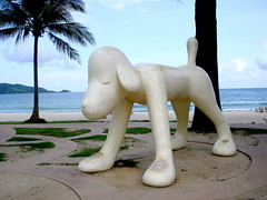 dog sculpture on the beach