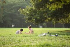 Summer Field (mrhayata) Tags: park summer tree field grass bicycle japan geotagged tokyo blog couple shibuya 日本 東京 yoyogi 夏 自転車 草原 代々木公園 東京都 渋谷区 カップル abigfave mrhayata geo:lat=35671164 geo:lon=139695035