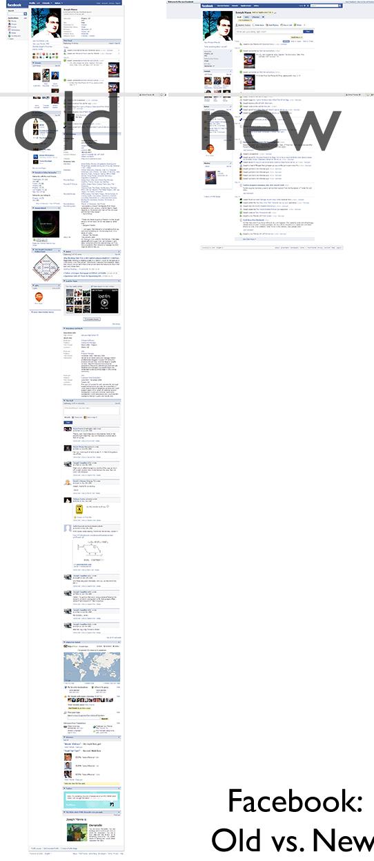 Nuevo versus antiguo diseño de Facebook