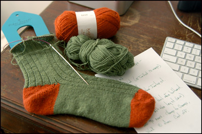 Man Sock, in Orange and Green